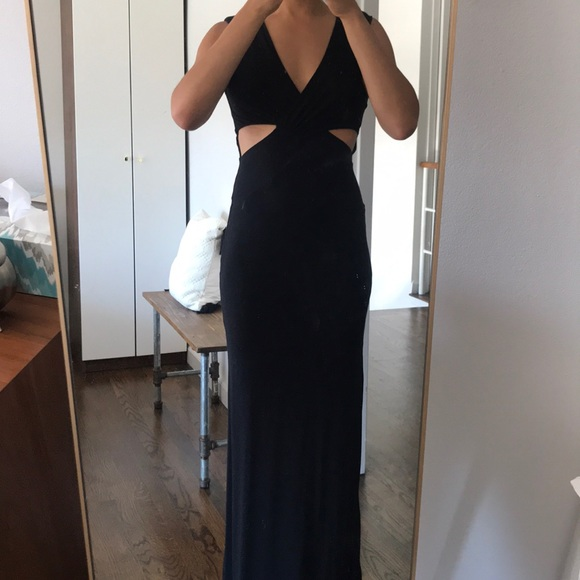 bebe Dresses & Skirts - Bebe Black Floor Length Gown with Cutouts